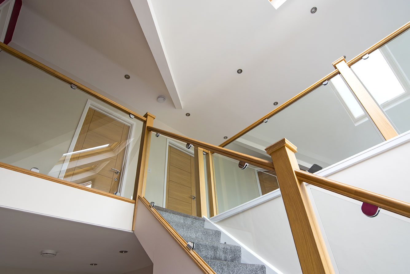 oak and glass staircase renovation